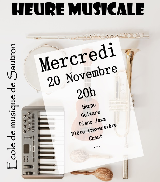 Annonce de l'heure musicale du 20/11/2019 : harpe, guitare, piano jazz, flûte traversière, chant